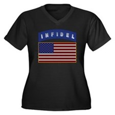 American Infidel Patch Women's Plus Size V-Neck Da