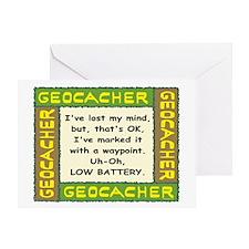 Green Geocacher Lost Mind Greeting Card