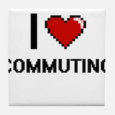 I love Commuting digital design Tile Coaster