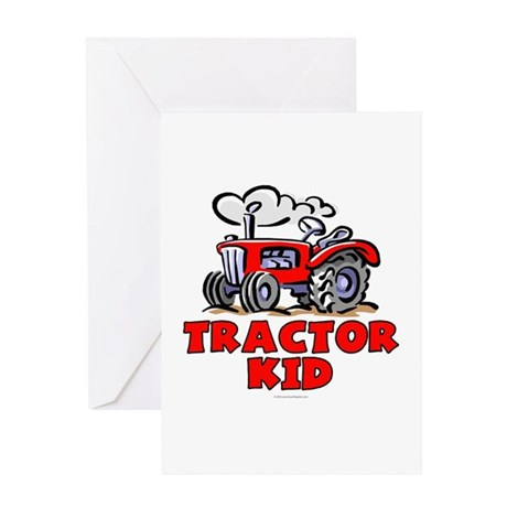 Red Tractor Kid Greeting Card
