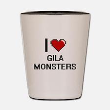 I love Gila Monsters digital design Shot Glass