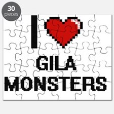 I love Gila Monsters digital design Puzzle