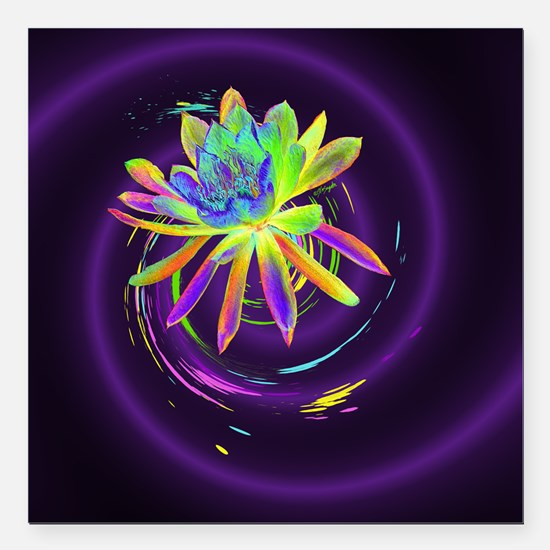 """Psychedelic Flower Square Car Magnet 3"""" x 3"""""""