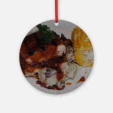 Barbecue Chicken and Corn Round Ornament