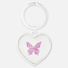 Pink Makeup Word Butterfly Heart Keychain