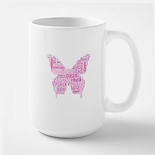 Pink Makeup Word Butterfly Large Mug