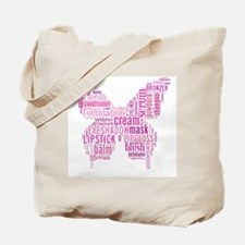 Pink Makeup Word Butterfly Tote Bag