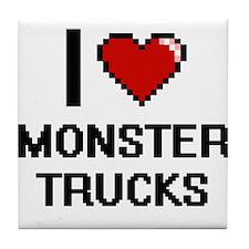 I love Monster Trucks digital design Tile Coaster