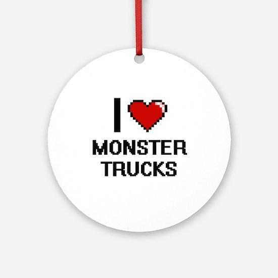 I love Monster Trucks digital desig Round Ornament