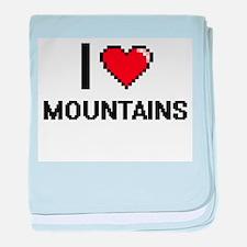 I love Mountains digital design baby blanket