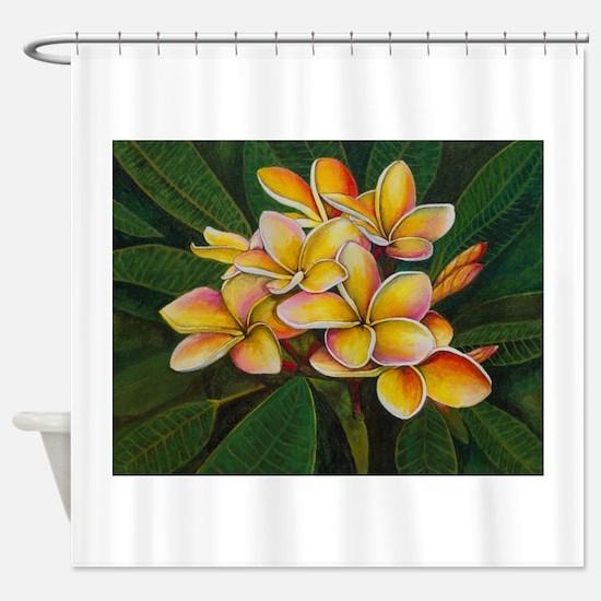 """Rainbow Plumeria"" Shower Curtain"