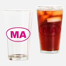 Massachusetts Euro Oval Green Drinking Glass
