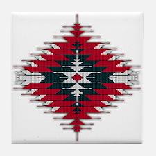 Native Style Red/Black Sunburst Tile Coaster