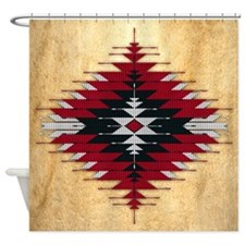 Native Style Red/black Sunburst Shower Curtain
