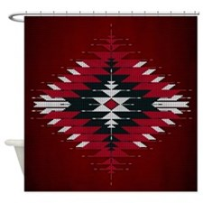 Native Style Red/black Sunburst Shower Curtain