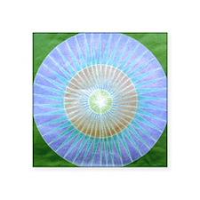 "Blue Faded Circle Square Sticker 3"" x 3"""
