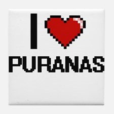 I love Puranas digital design Tile Coaster