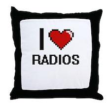 I love Radios digital design Throw Pillow