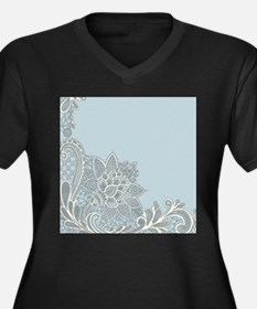 white lace pastel blue Plus Size T-Shirt