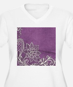 purple abstract white lace Plus Size T-Shirt