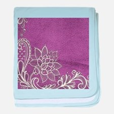 purple abstract white lace baby blanket