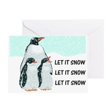 Let It Snow, Penguins Greeting Card