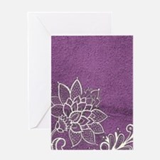 purple abstract white lace Greeting Cards