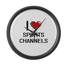 I love Sports Channels digital de Large Wall Clock