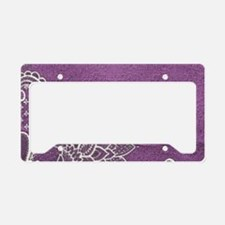 purple abstract white lace License Plate Holder