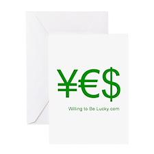 Yen Euro Dollar Greeting Card