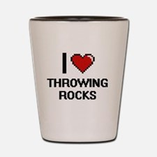 I love Throwing Rocks digital design Shot Glass