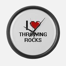 I love Throwing Rocks digital des Large Wall Clock