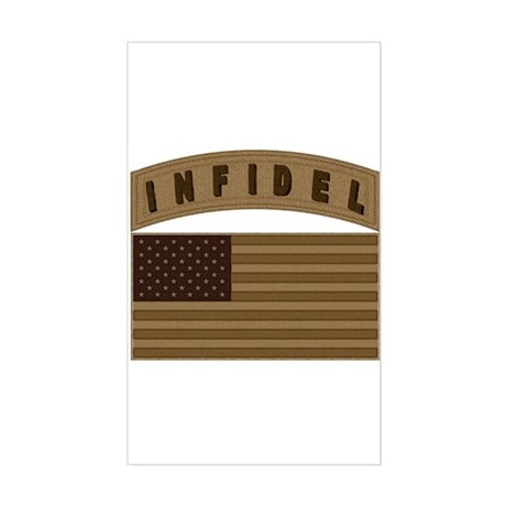 Desert US Infidel Patch Rectangle Sticker