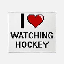 I love Watching Hockey digital desig Throw Blanket