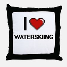 I love Waterskiing digital design Throw Pillow