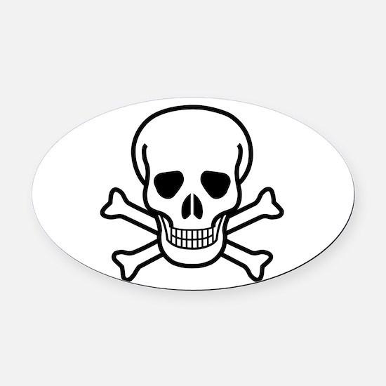 Skull and Bones Oval Car Magnet