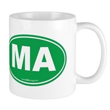 Massachusetts Euro Oval Green Mug