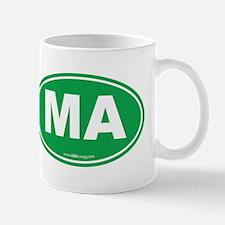 Massachusetts Euro Oval Green Mug
