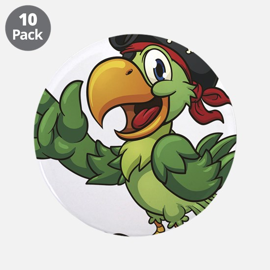 """Pirate-Parrot 3.5"""" Button (10 pack)"""