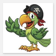 "Pirate-Parrot Square Car Magnet 3"" x 3"""