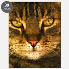 Gray Striped Cat Face Puzzle