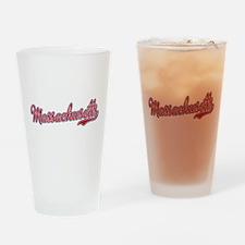 Massachusetts Script Font Drinking Glass