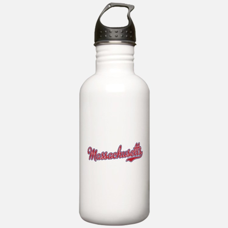 Massachusetts Script Font Water Bottle