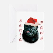 Santa Paws Pug (blk) Greeting Card
