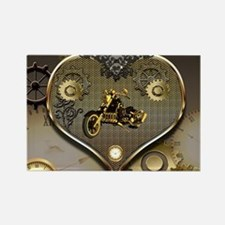 Steampunk, awesome motorcycle on a heart Magnets