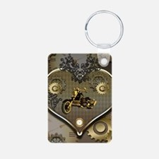 Steampunk, awesome motorcycle on a heart Keychains
