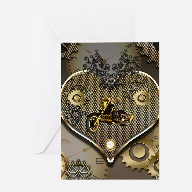 Steampunk, awesome motorcycle on a heart Greeting