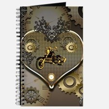 Steampunk, awesome motorcycle on a heart Journal
