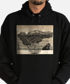 Vintage Pictorial Map of Bar Harbor Hoodie (dark)