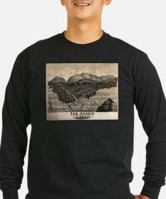 Vintage Pictorial Map of Bar H Long Sleeve T-Shirt